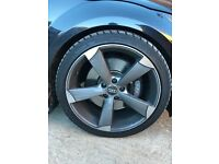 """Audi TT tts ttrs a4 a5 a6 a7 black edition rotor rotar 19"""" alloy wheels with tyres set 5112 like new"""