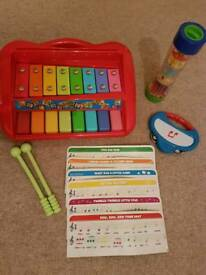 Bundle of pre-school musical toys - xylophone, tambourine and rainmaker
