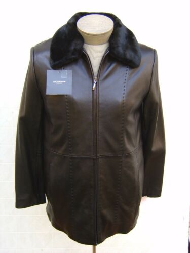 Liz Claiborne Womens S Fur Genuine Leather 3-In-1 Coat Jacke