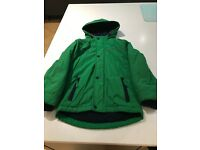 Boys Bright Green Fleece Lined Coat Excellent Condition