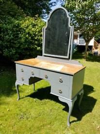 Vintage antique dressing table- bookmatched walnut veneer