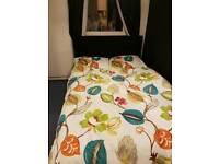 Black fabric Double bed and mattress