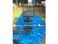 Work Bench + barbells +weights