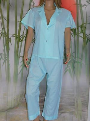 38 NEW  Cotton Blend Pajamas Short Sleeve Elastic Waist Button Front Piping