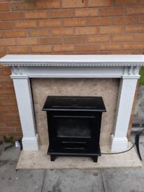 Electric fire wooden surround and marble back and bottom