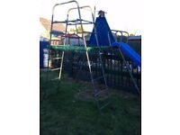 TP Outdoor Toys Metal Climbing Frame inc Slide, 'Rockaboat' Double Swing, Trapeze Bar