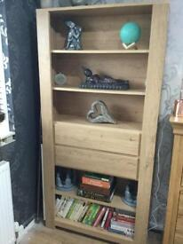 Large oak effect unit with drawers