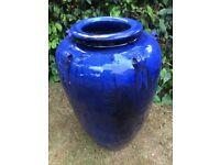 Very Large Blue Glazed Temple Jar Pot / garden pot with handles