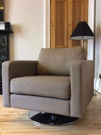 Contemporary three seater sofa and swivel arm chair with metal base