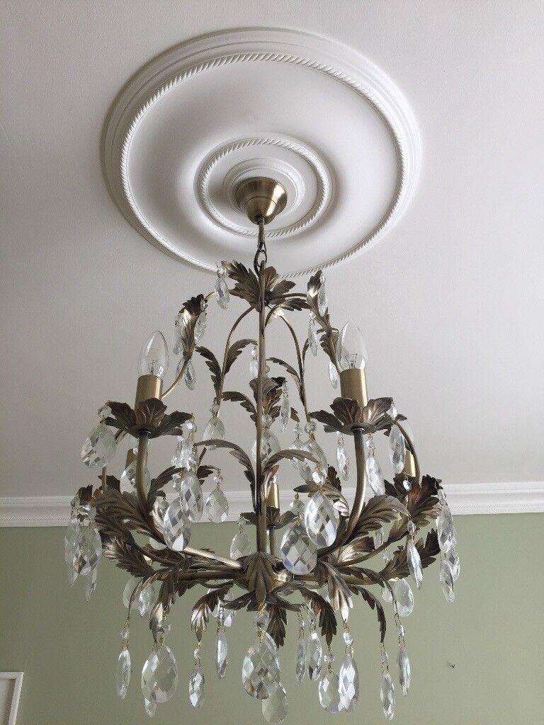 Cut glass and metal chandelier | in Berkeley, Gloucestershire | Gumtree