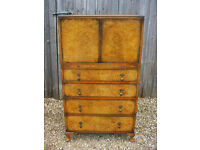 Antique Burr Walnut Tallboy Cabinet Chest by Palatial Furniture