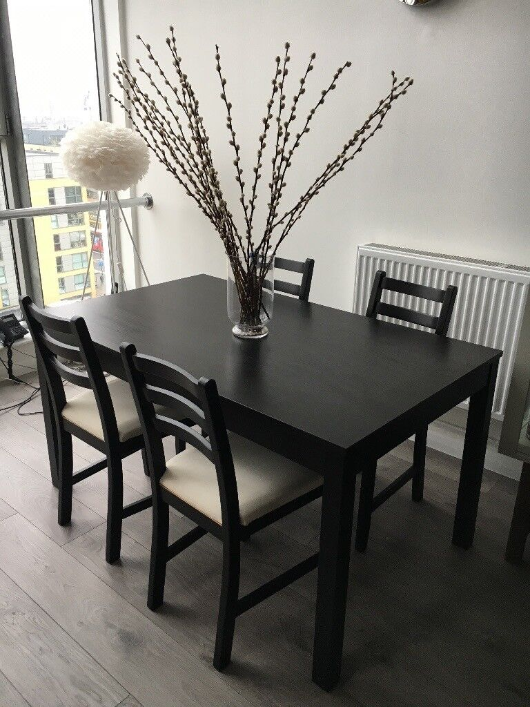 Dining Table & 4 Chairs : Black/Brown Lehman