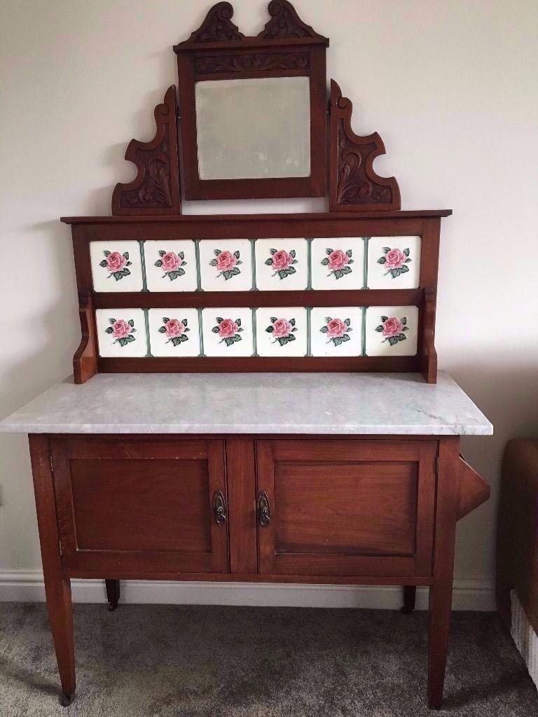 Antique Victorian Wash Stand Original Tiles Mirror