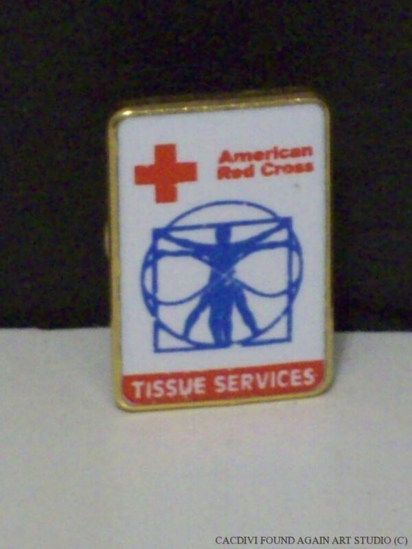 Vintage American Red Cross Tissue Services Pin da Vinci Man Infinity ARC Badge