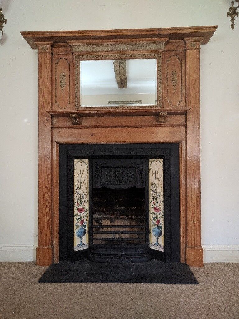 victorian style fireplace wood surround cast iron tiled insert