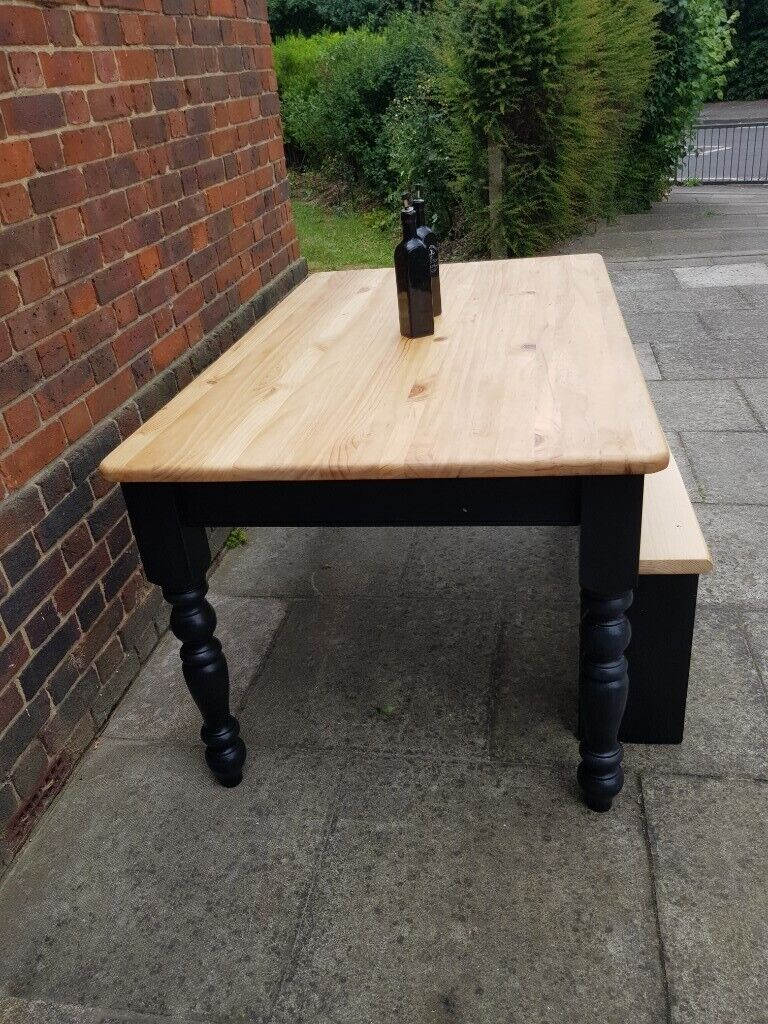 Remarkable Solid Pine 5Ft Farmhouse Dining Table Handcrafted Bench Black Shabby Chic Seats 6 In Hammersmith London Gumtree Squirreltailoven Fun Painted Chair Ideas Images Squirreltailovenorg