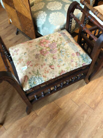 Antique Piano Stool , with adjustable height .With shelf below for music sheets. Must be seen ......