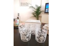 LSA SET 4x glass ANIA tumblers 390ml WHITE/LEAF DECOR