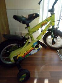 """12"""" boys green jungle bike like new"""