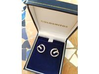 Brand New Goldsmiths 9ct white gold loop earrings