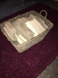 Log basket and wood