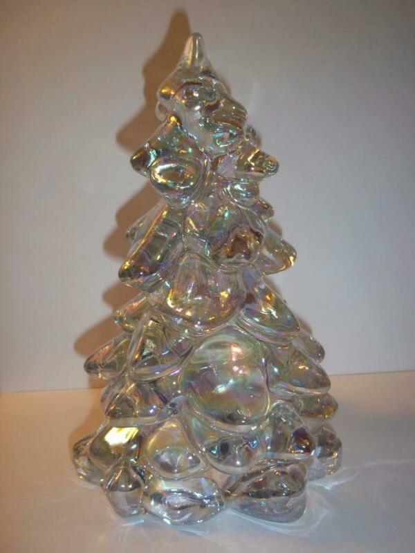 "Mosser Glass CRYSTAL CARNIVAL Iridized 5.5"" CHRISTMAS TREE Figurine Made In USA!"