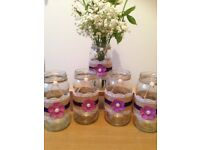 Wedding table decorations vintage jars shabby chic