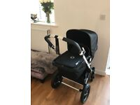 Black Bugaboo cameleon 3 pram with blue colour change and foot muff