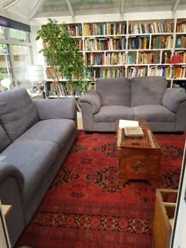 Superb IKEA 2 seater and 3 seater sofa in Hensta Grey fabric