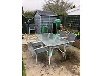 Patio Set with 6 Chairs, Glass Topped Table,