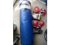 Punch bag, gloves and pads