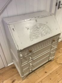 Vintage Shabby Chic Oak Bureau Writing Desk Painted in White