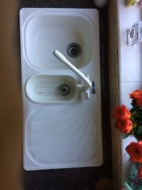 used kitchen double sink c/w mixer tap and FRANKE water purification system,