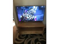 Tv unit stand solid wood great for large tv living room furniture 2 drawers