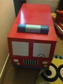 Wooden kids fire engine storage box