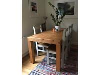 6-8 seater rustic wooden table & chairs