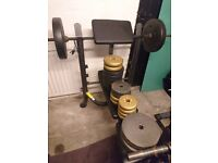 Weights bench (For - Chest, Arms, Legs and Lats) and weights (Over 60 kg included)