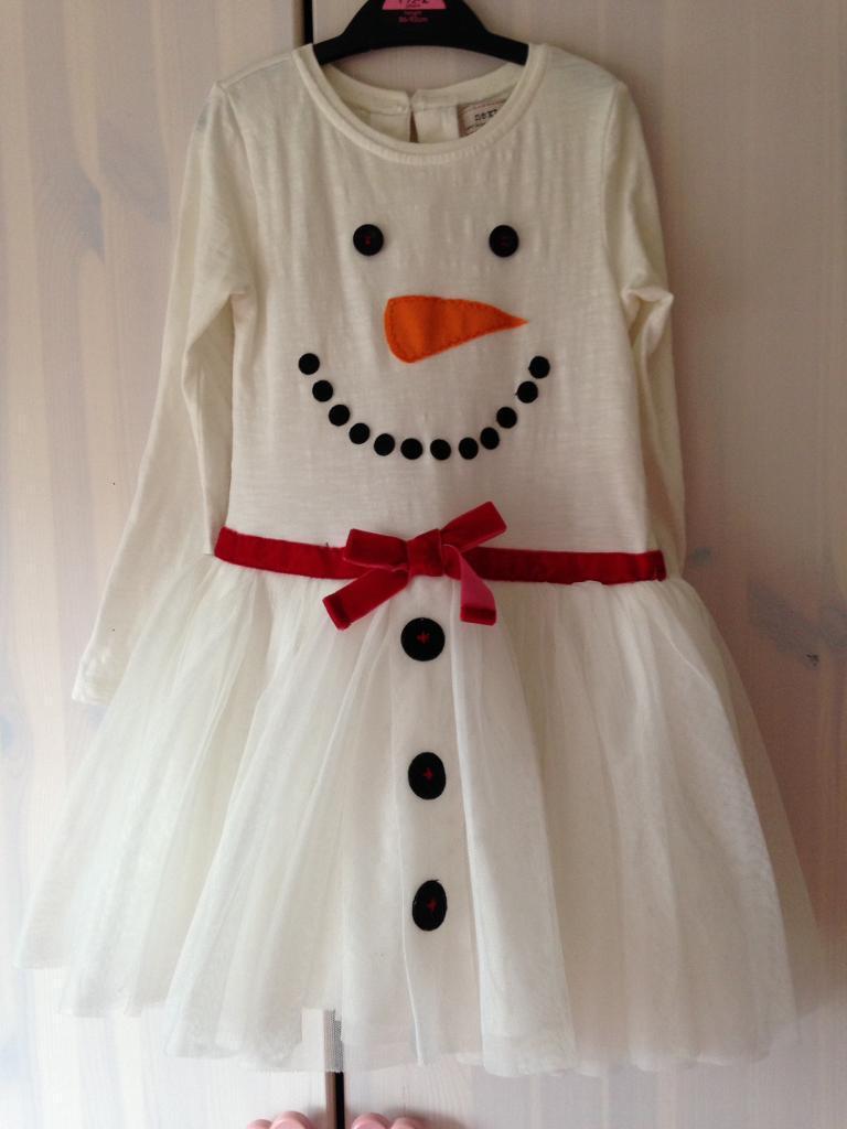 Girls snowman dress 3-4