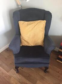 Queen Anne armchair in blue