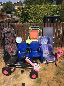 Bike kids chair buggy kids table and chairs blue table scooter car seat all good all for £15