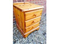 Ducal solid pine bedside table. Dovetail Joints. O