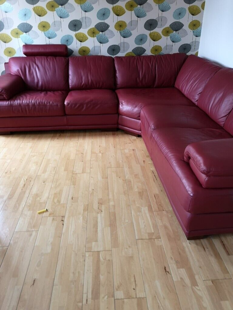 Red corner sofa. Immaculate. Good quality leather from ...