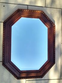Vintage octagonal mirror with dark oak frame and bevelled glass- 1920s