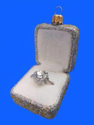 DIAMOND ENGAGEMENT RING EUROPEAN BLOWN GLASS CHRISTMAS ORNAMENT SILVER MARRIAGE