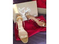 Christian Louboutin Gold Strap Sandal Heels size 39