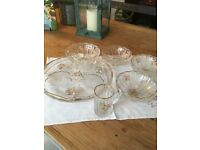 Vintage glass cake plate, bowls and small glass