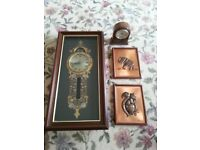 2 clocks and 2 copper pictures