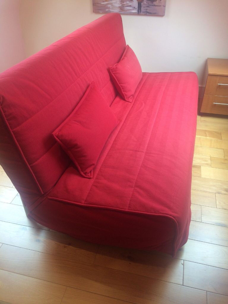 Ikea Beddinge Lovas 3 Seat Sofa Bed Red Cover In Almost