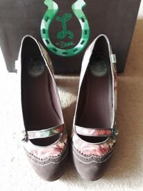Miss L Fire suede and fabric pumps Size 41