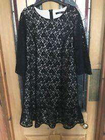 Oasis ladies black lace dress, size 14